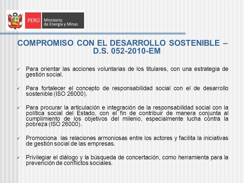 COMPROMISO CON EL DESARROLLO SOSTENIBLE – D.S. 052-2010-EM Para orientar las acciones voluntarias de los titulares, con una estrategia de gestión soci