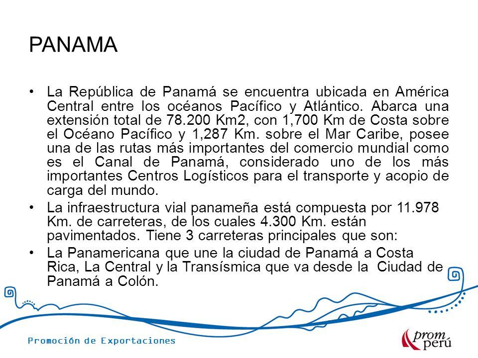 Promoción de Exportaciones TARIFAS PROMEDIO – VÍA MARÍTIMA CONTENEDOR 20 PROMEDIO CONTENEDOR 20 NEGOCIACIÓN COSTOS LOGISTICOS Transporte Terrestre Origen US$ 300.00 Gastos portuarios promedio US$ 350.00 Agente de Aduanas Perú US$ 190.00 Certificado de origen US$ 20.00 THC origen US$ 45.00 Emisión de B/L US$ 55.00 Flete COLON US$ 1,500.00 Transmisión destino US$ 30.00 SFS US$ 10.00 Carga seca: Prendas de Vestir Productos Plásticos.