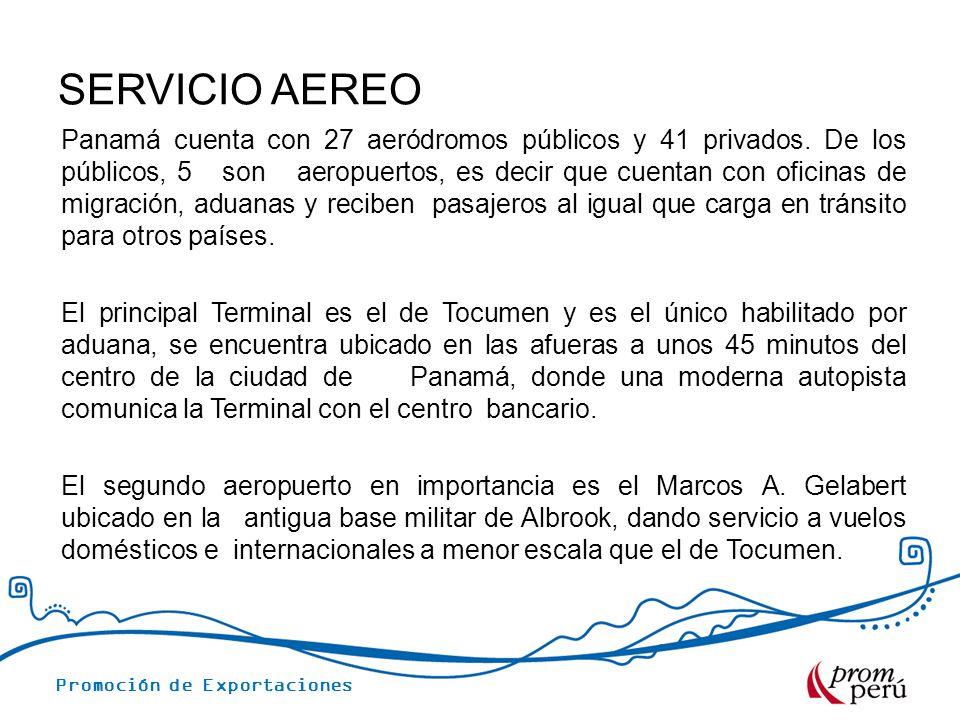 Promoción de Exportaciones SERVICIO AEREO Panamá cuenta con 27 aeródromos públicos y 41 privados. De los públicos, 5 son aeropuertos, es decir que cue