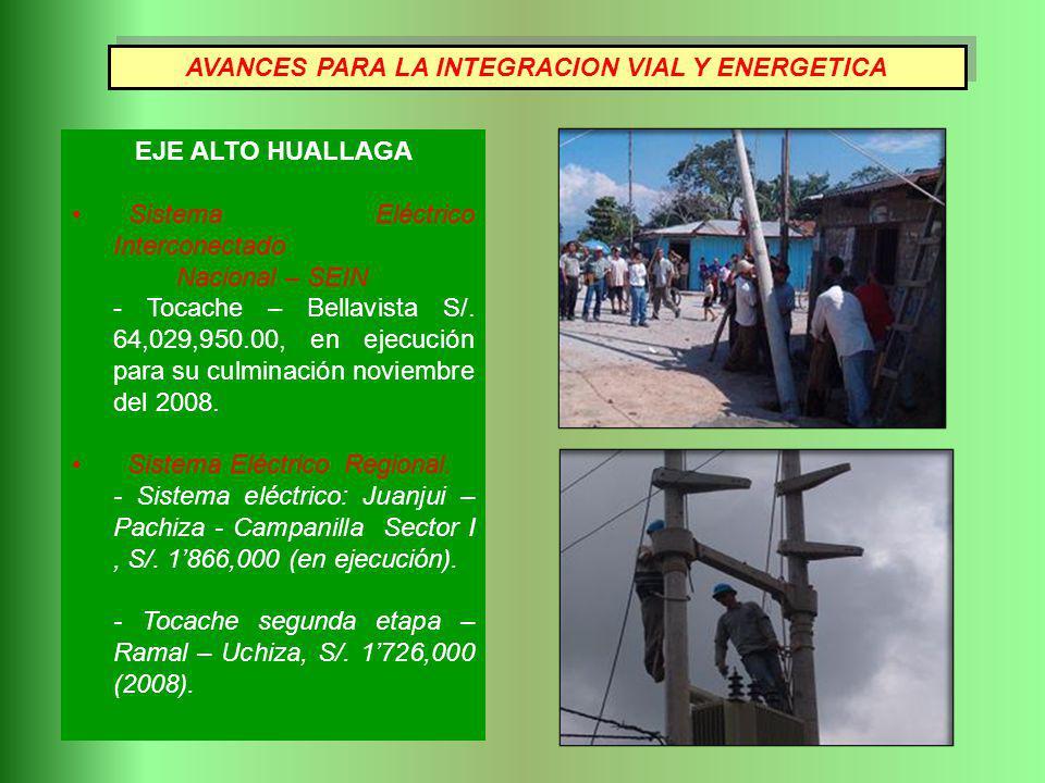 EJE ALTO HUALLAGA Sistema Eléctrico Interconectado Nacional – SEIN - Tocache – Bellavista S/. 64,029,950.00, en ejecución para su culminación noviembr