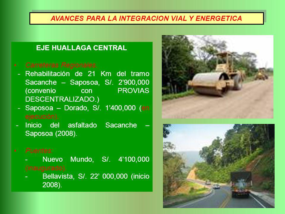 EJE HUALLAGA CENTRAL Carreteras Regionales.
