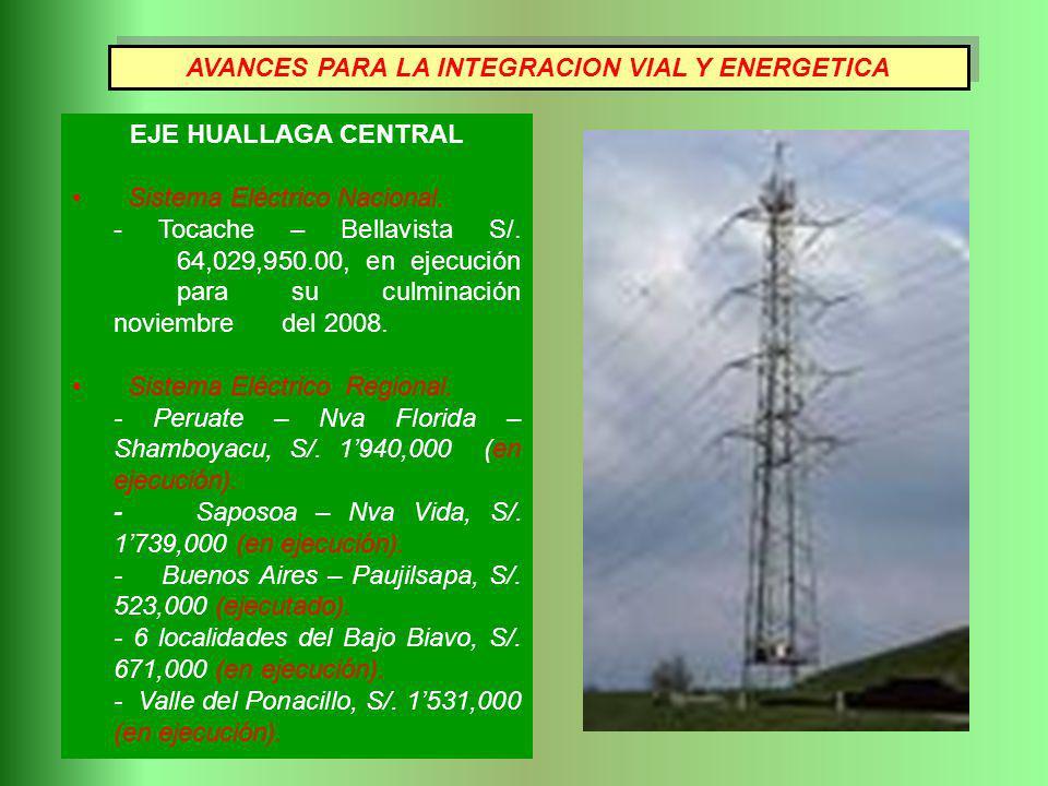EJE HUALLAGA CENTRAL Sistema Eléctrico Nacional. - Tocache – Bellavista S/. 64,029,950.00, en ejecución para su culminación noviembre del 2008. Sistem