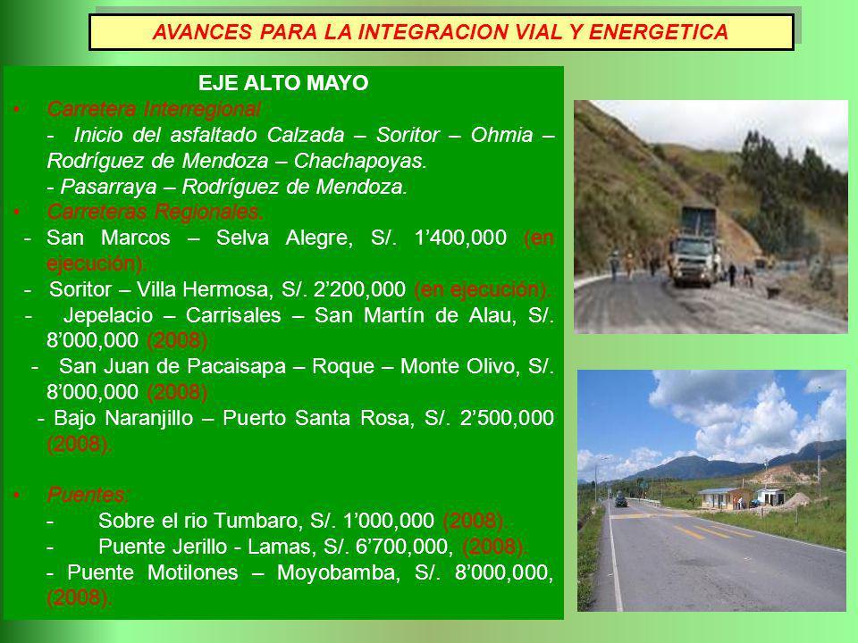 EJE ALTO MAYO Carretera Interregional - Inicio del asfaltado Calzada – Soritor – Ohmia – Rodríguez de Mendoza – Chachapoyas. - Pasarraya – Rodríguez d