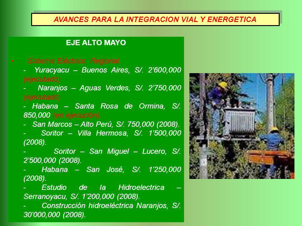EJE ALTO MAYO Sistema Eléctrico Regional. - Yuracyacu – Buenos Aires, S/. 2600,000 (ejecutado) - Naranjos – Aguas Verdes, S/. 2750,000 (ejecutado) - H