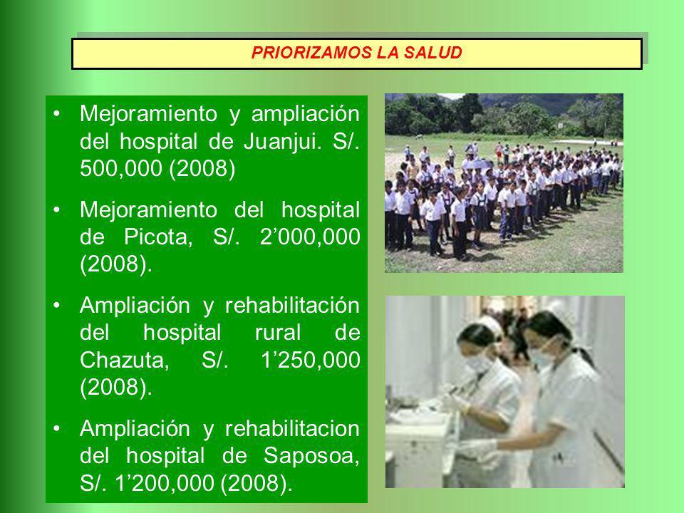 Mejoramiento y ampliación del hospital de Juanjui. S/. 500,000 (2008) Mejoramiento del hospital de Picota, S/. 2000,000 (2008). Ampliación y rehabilit