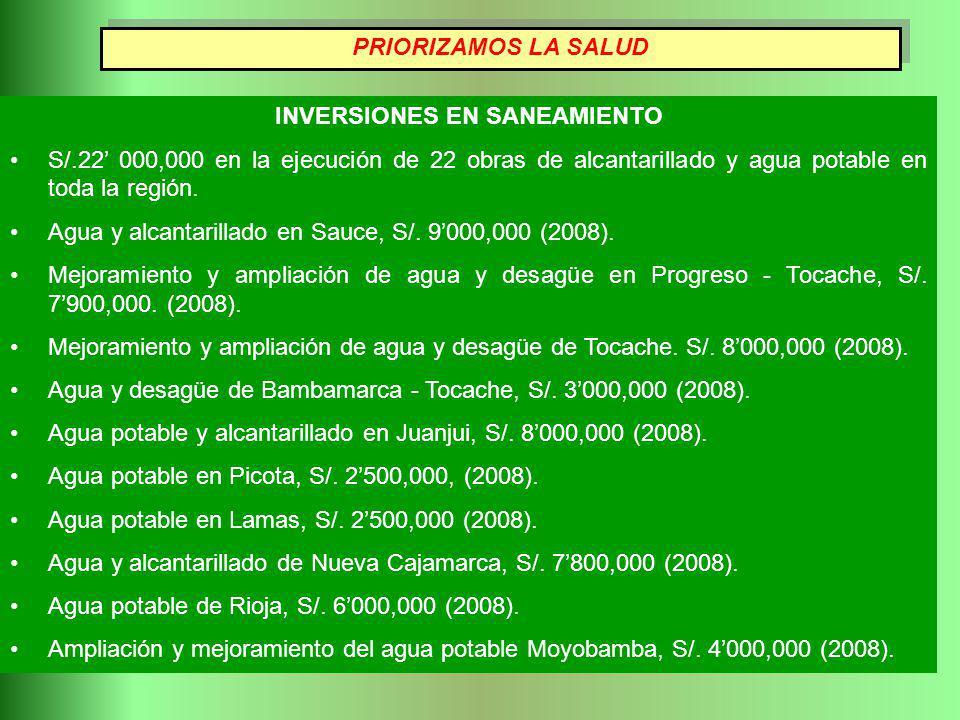 INVERSIONES EN SANEAMIENTO S/.22 000,000 en la ejecución de 22 obras de alcantarillado y agua potable en toda la región. Agua y alcantarillado en Sauc