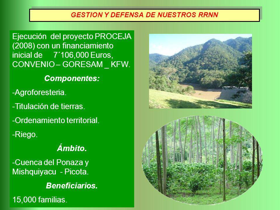 Ejecución del proyecto PROCEJA (2008) con un financiamiento inicial de 7´106,000 Euros, CONVENIO – GORESAM _ KFW. Componentes: -Agroforesteria. -Titul