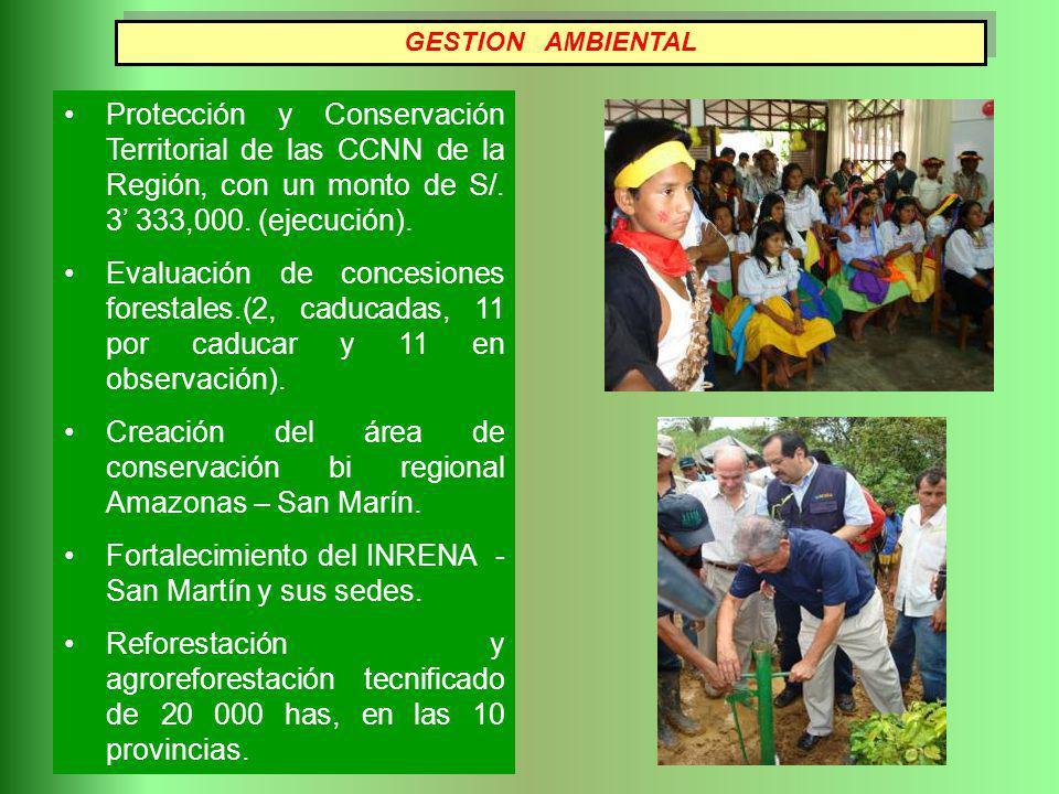 GESTION AMBIENTAL Protección y Conservación Territorial de las CCNN de la Región, con un monto de S/. 3 333,000. (ejecución). Evaluación de concesione