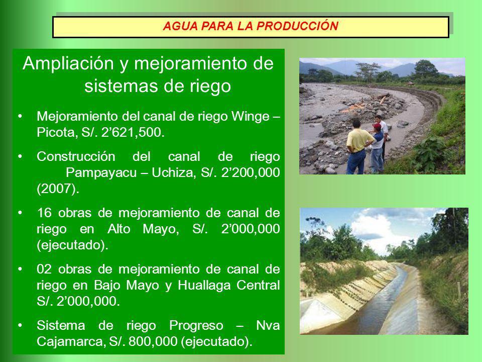 Ampliación y mejoramiento de sistemas de riego Mejoramiento del canal de riego Winge – Picota, S/. 2621,500. Construcción del canal de riego Pampayacu
