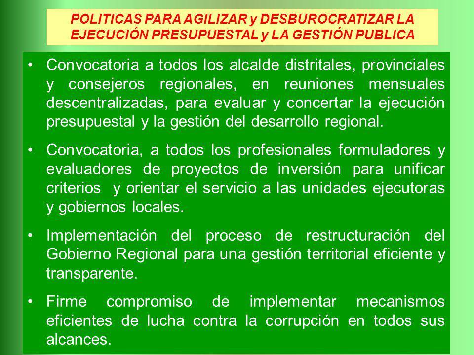 POLITICAS PARA AGILIZAR y DESBUROCRATIZAR LA EJECUCIÓN PRESUPUESTAL y LA GESTIÓN PUBLICA Convocatoria a todos los alcalde distritales, provinciales y