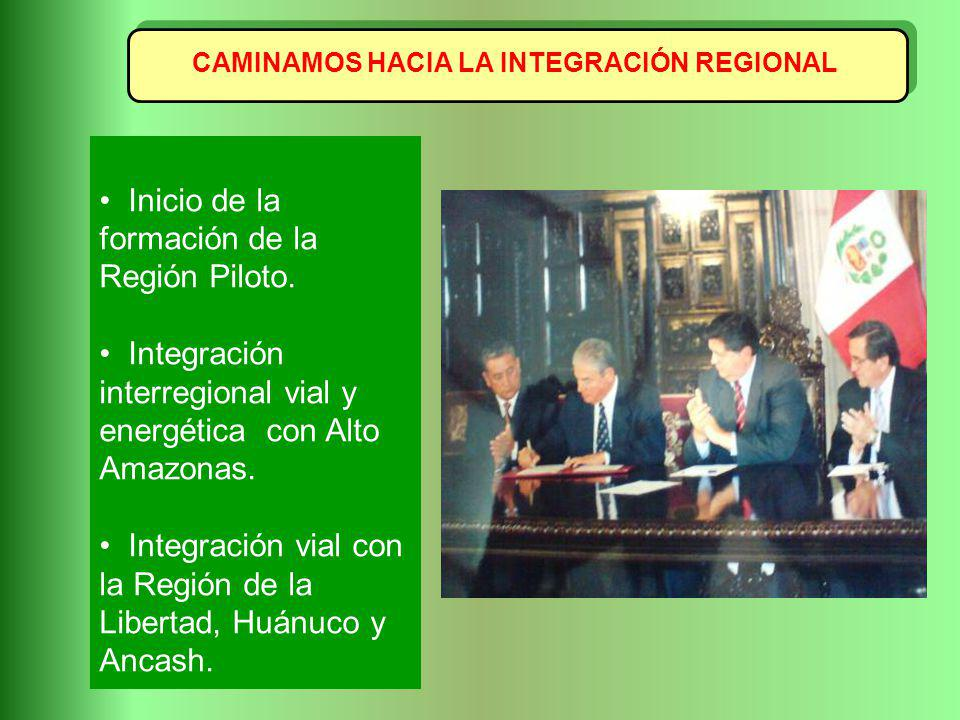 CAMINAMOS HACIA LA INTEGRACIÓN REGIONAL Inicio de la formación de la Región Piloto. Integración interregional vial y energética con Alto Amazonas. Int