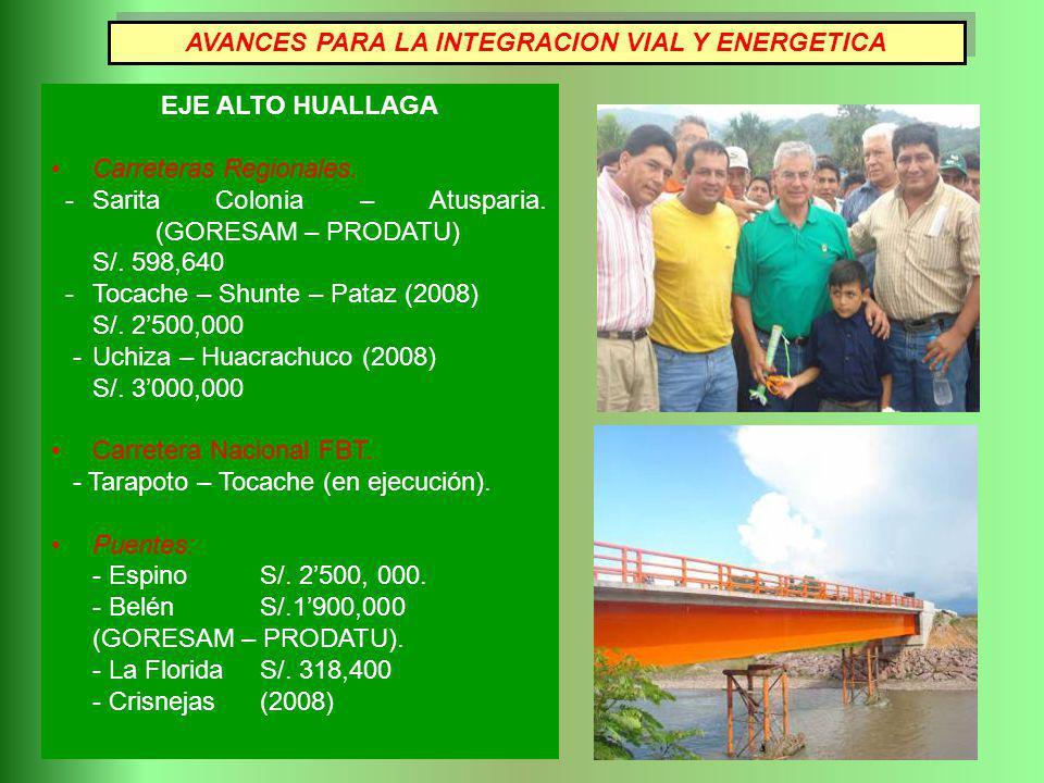 EJE ALTO HUALLAGA Carreteras Regionales. - Sarita Colonia – Atusparia. (GORESAM – PRODATU) S/. 598,640 - Tocache – Shunte – Pataz (2008) S/. 2500,000