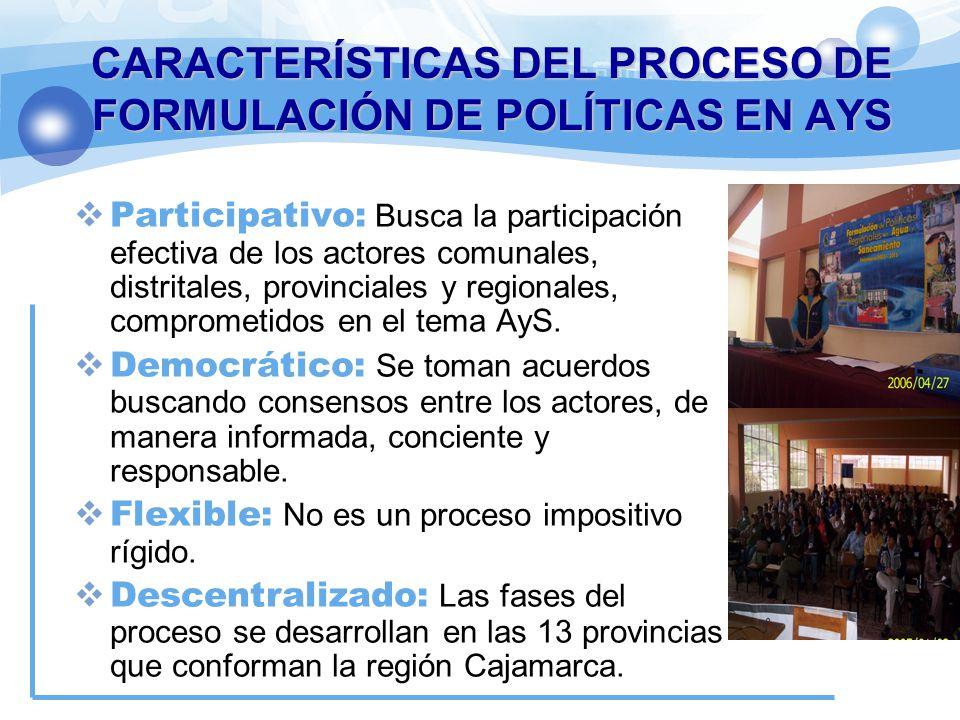 CARACTERÍSTICAS DEL PROCESO DE FORMULACIÓN DE POLÍTICAS EN AYS Participativo: Busca la participación efectiva de los actores comunales, distritales, p