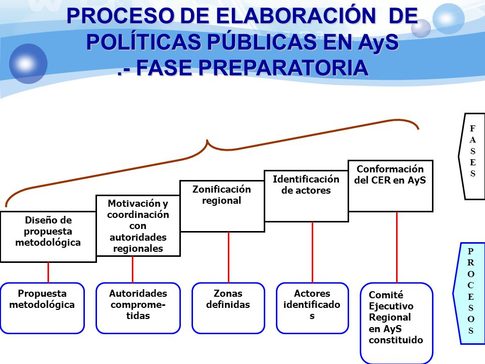 FASE PREPARATORIA Diseño de propuesta metodológica Motivación y coordinación con autoridades regionales Conformación del CER en AyS Zonificación regio