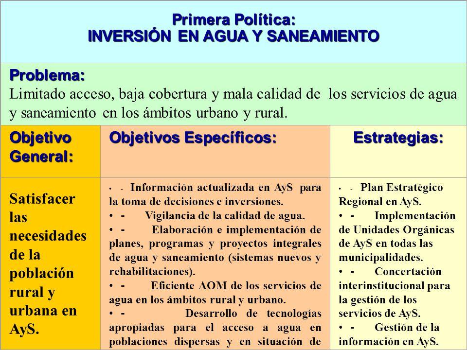 Primera Política: INVERSIÓN EN AGUA Y SANEAMIENTO Problema: Limitado acceso, baja cobertura y mala calidad de los servicios de agua y saneamiento en los ámbitos urbano y rural.