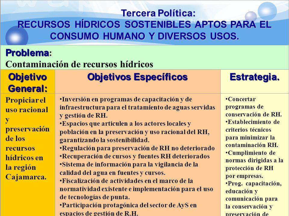 Tercera Política: RECURSOS HÍDRICOS SOSTENIBLES APTOS PARA EL CONSUMO HUMANO Y DIVERSOS USOS. Problema Problema : Contaminación de recursos hídricos O