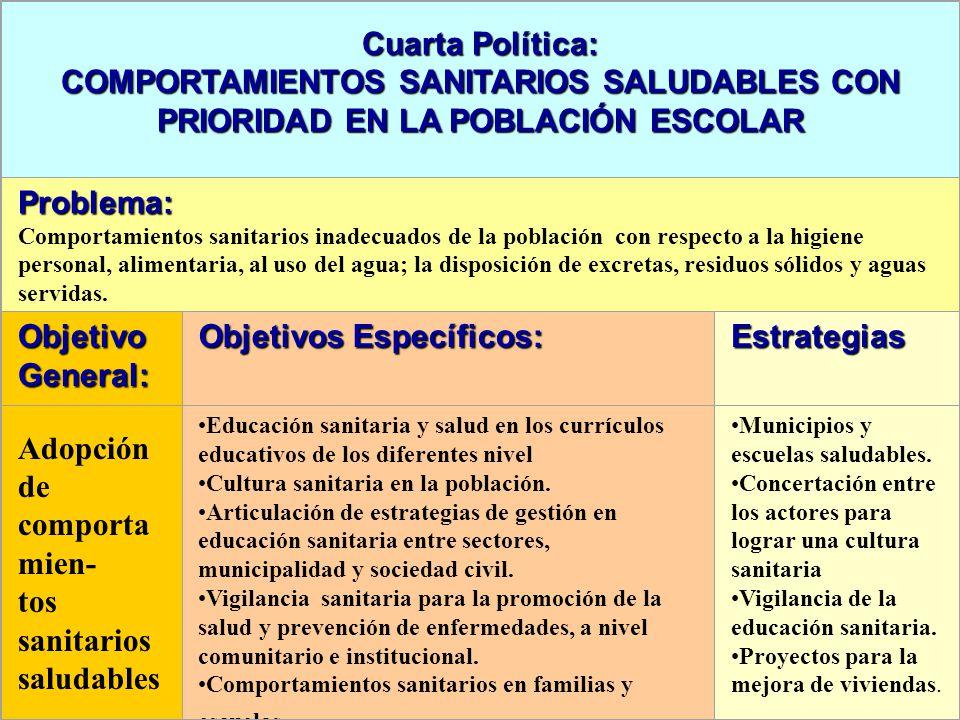 Cuarta Política: COMPORTAMIENTOS SANITARIOS SALUDABLES CON PRIORIDAD EN LA POBLACIÓN ESCOLAR Problema: Comportamientos sanitarios inadecuados de la po