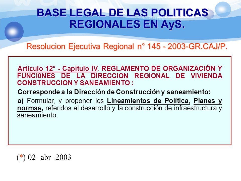 BASE LEGAL DE LAS POLITICAS REGIONALES EN AyS. Resolucion Ejecutiva Regional n° 145 - 2003-GR.CAJ/P. Artículo 12° - Capítulo IV. REGLAMENTO DE ORGANIZ