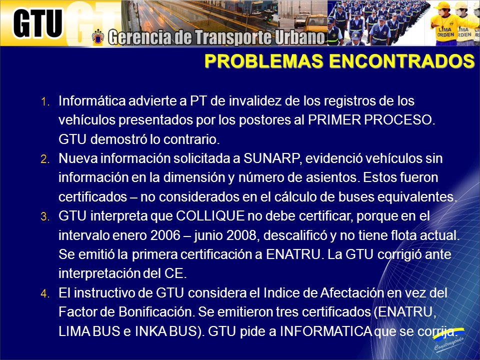 1. Informática advierte a PT de invalidez de los registros de los vehículos presentados por los postores al PRIMER PROCESO. GTU demostró lo contrario.