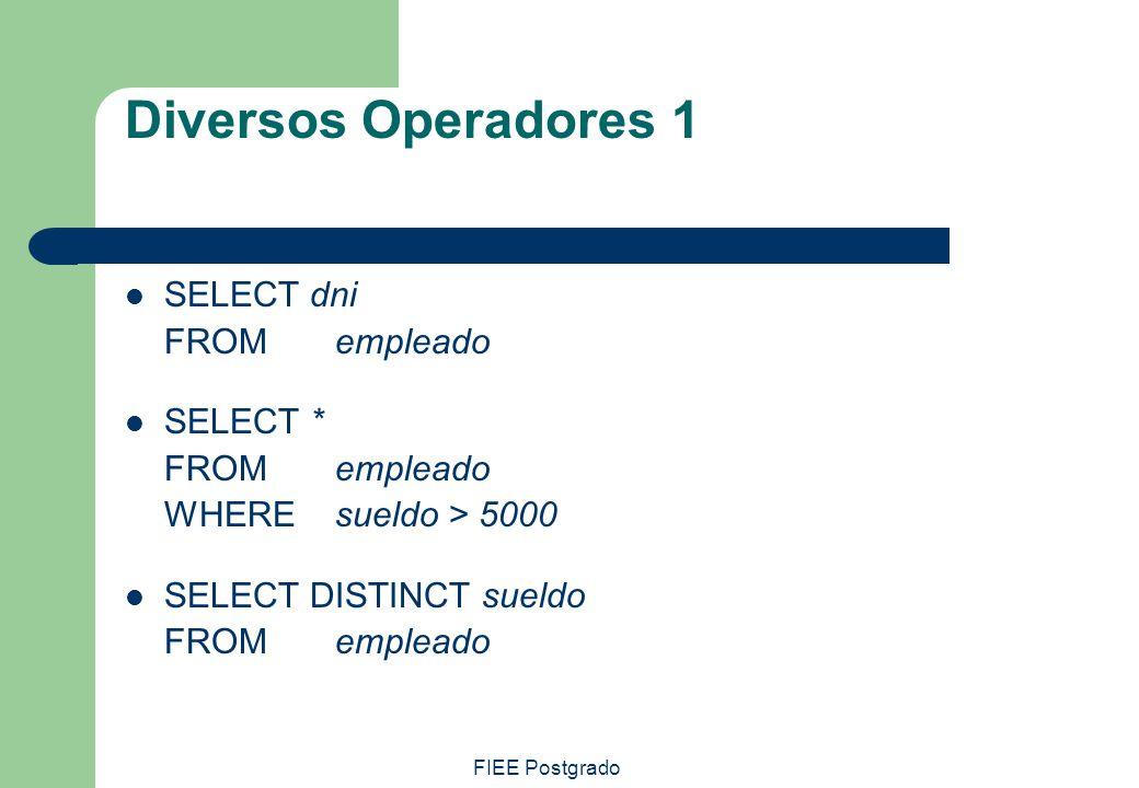 FIEE Postgrado Diversos Operadores 1 SELECT dni FROM empleado SELECT * FROM empleado WHEREsueldo > 5000 SELECT DISTINCT sueldo FROM empleado