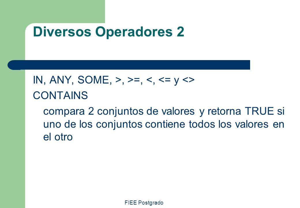 FIEE Postgrado Diversos Operadores 2 IN, ANY, SOME, >, >=, CONTAINS compara 2 conjuntos de valores y retorna TRUE si uno de los conjuntos contiene tod