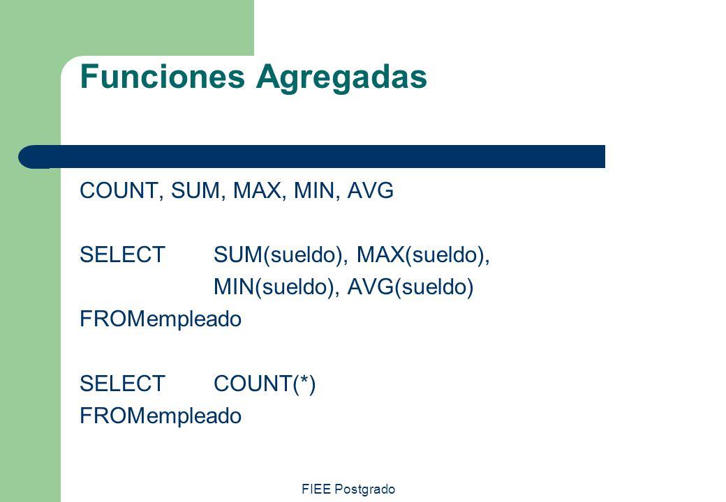 FIEE Postgrado Funciones Agregadas COUNT, SUM, MAX, MIN, AVG SELECT SUM(sueldo), MAX(sueldo), MIN(sueldo), AVG(sueldo) FROMempleado SELECTCOUNT(*) FRO