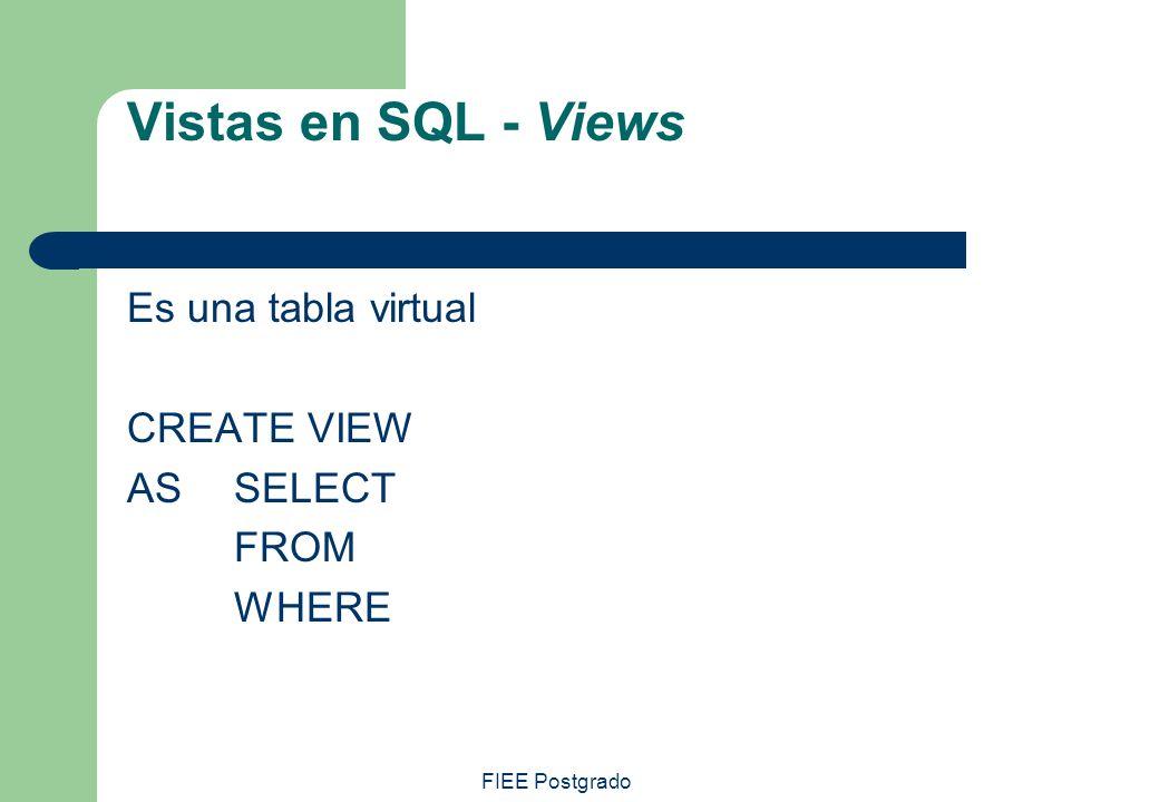 FIEE Postgrado Vistas en SQL - Views Es una tabla virtual CREATE VIEW AS SELECT FROM WHERE