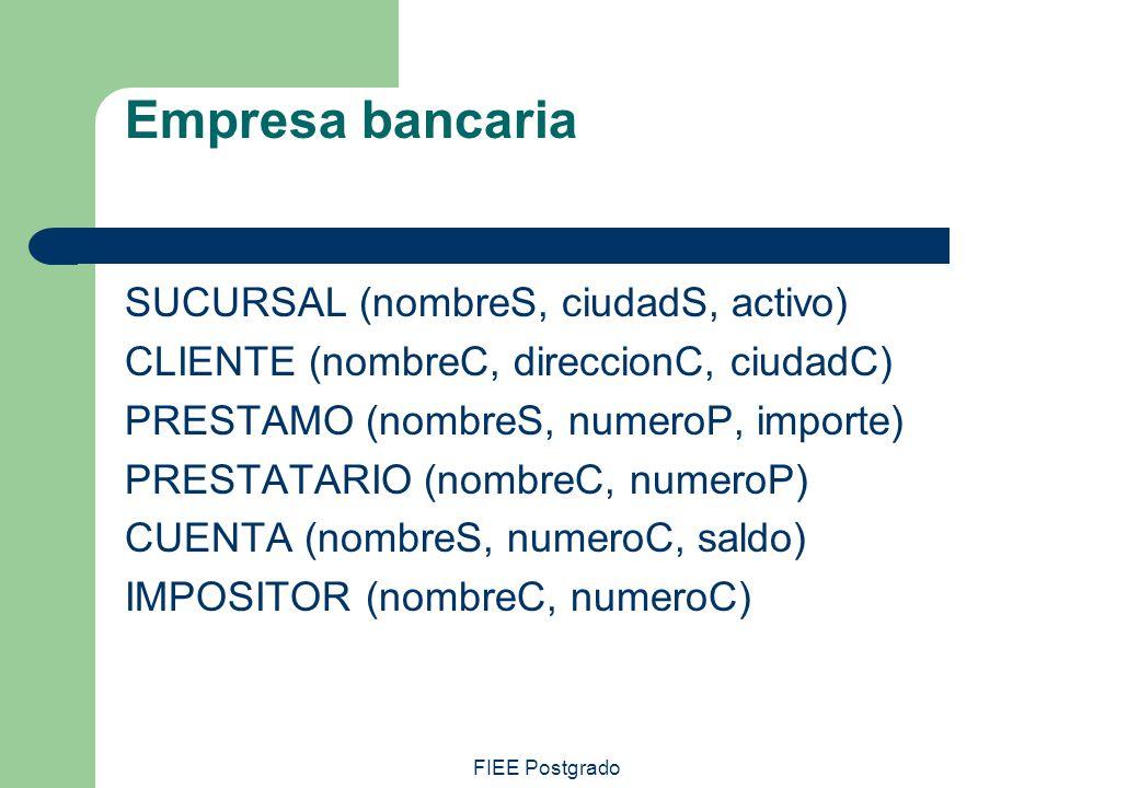 FIEE Postgrado Empresa bancaria SUCURSAL (nombreS, ciudadS, activo) CLIENTE (nombreC, direccionC, ciudadC) PRESTAMO (nombreS, numeroP, importe) PRESTA