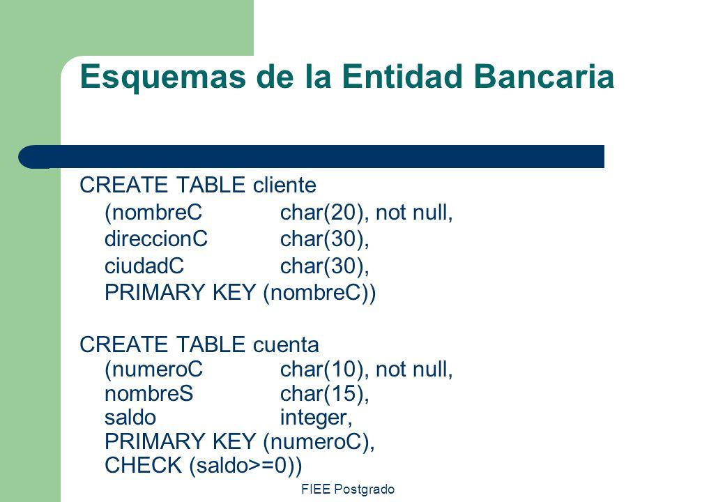 FIEE Postgrado Esquemas de la Entidad Bancaria CREATE TABLE cliente (nombreCchar(20), not null, direccionCchar(30), ciudadCchar(30), PRIMARY KEY (nomb