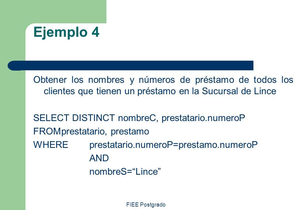 FIEE Postgrado Ejemplo 4 Obtener los nombres y números de préstamo de todos los clientes que tienen un préstamo en la Sucursal de Lince SELECT DISTINC