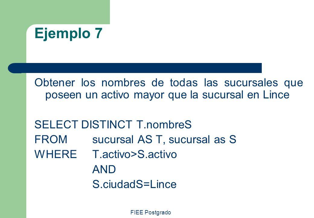 FIEE Postgrado Ejemplo 7 Obtener los nombres de todas las sucursales que poseen un activo mayor que la sucursal en Lince SELECT DISTINCT T.nombreS FRO