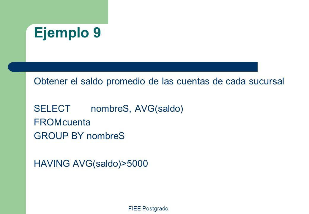 FIEE Postgrado Ejemplo 9 Obtener el saldo promedio de las cuentas de cada sucursal SELECT nombreS, AVG(saldo) FROMcuenta GROUP BY nombreS HAVING AVG(s