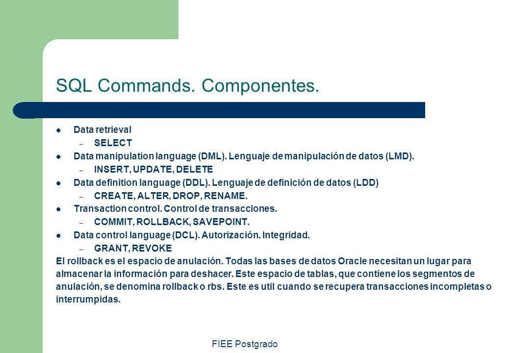 FIEE Postgrado SQL Commands. Componentes. Data retrieval – SELECT Data manipulation language (DML). Lenguaje de manipulación de datos (LMD). – INSERT,