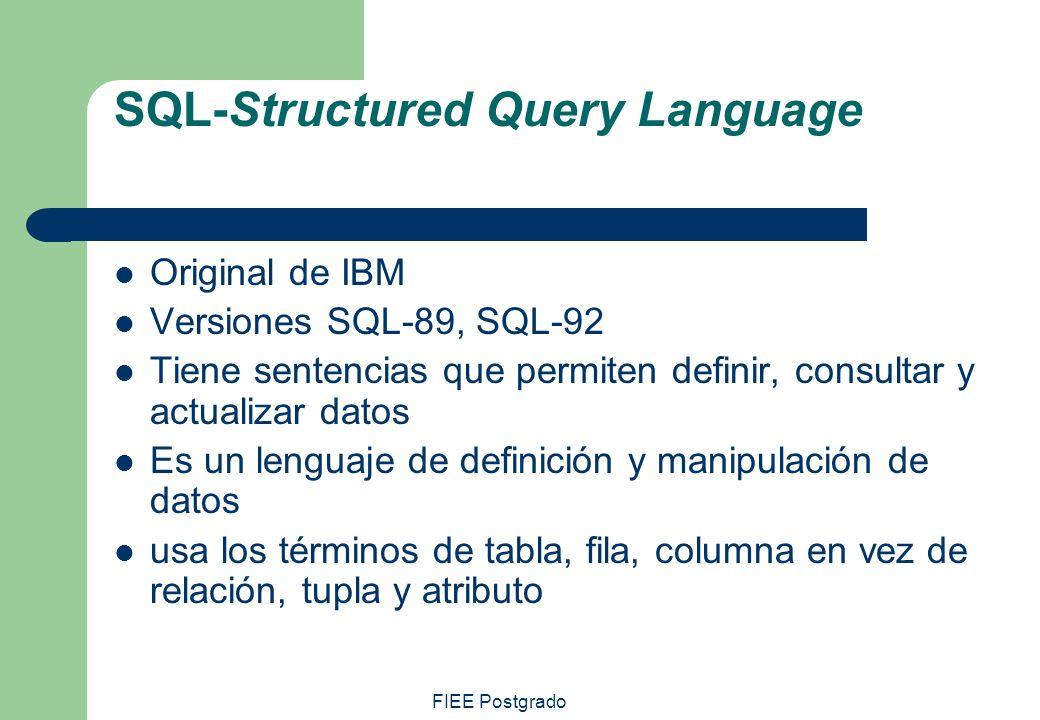 FIEE Postgrado SQL-Structured Query Language Original de IBM Versiones SQL-89, SQL-92 Tiene sentencias que permiten definir, consultar y actualizar da