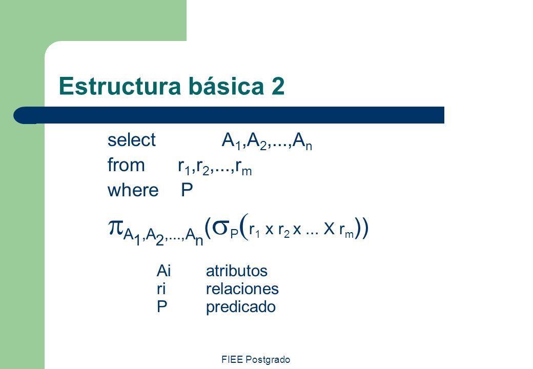 FIEE Postgrado Estructura básica 2 select A 1,A 2,...,A n from r 1,r 2,...,r m where P A 1,A 2,...,A n ( P r 1 x r 2 x... X r m )) Ai atributos rirela