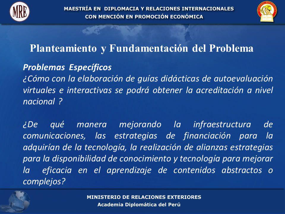 Planteamiento y Fundamentación del Problema Problemas Específicos ¿Cómo con la elaboración de guías didácticas de autoevaluación virtuales e interactivas se podrá obtener la acreditación a nivel nacional .