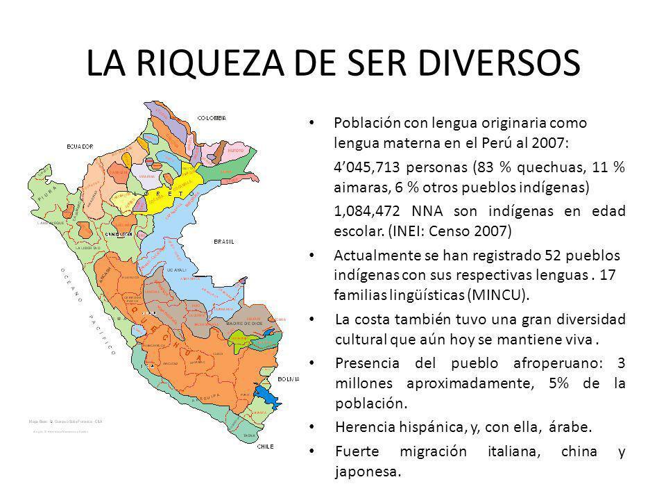 LA RIQUEZA DE SER DIVERSOS Población con lengua originaria como lengua materna en el Perú al 2007: 4045,713 personas (83 % quechuas, 11 % aimaras, 6 %