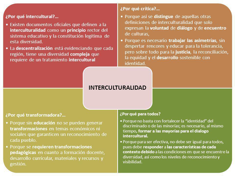 ¿Por qué intercultural?… Existen documentos oficiales que definen a la interculturalidad como un principio rector del sistema educativo y la constituc