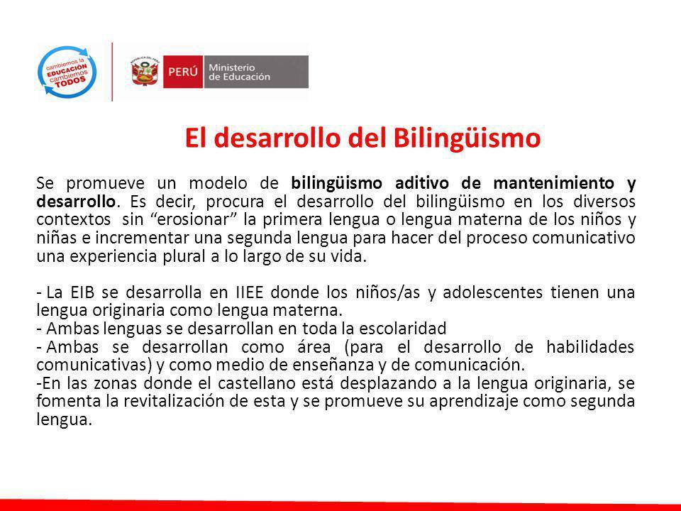 Se promueve un modelo de bilingüismo aditivo de mantenimiento y desarrollo. Es decir, procura el desarrollo del bilingüismo en los diversos contextos