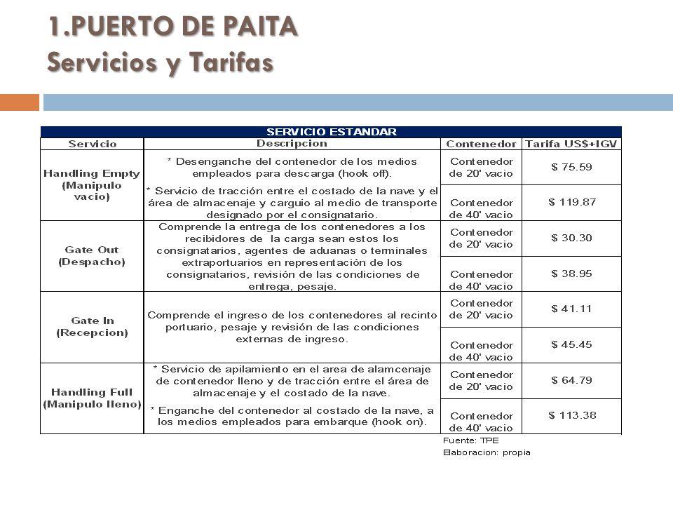 1.PUERTO DE PAITA Servicios y Tarifas