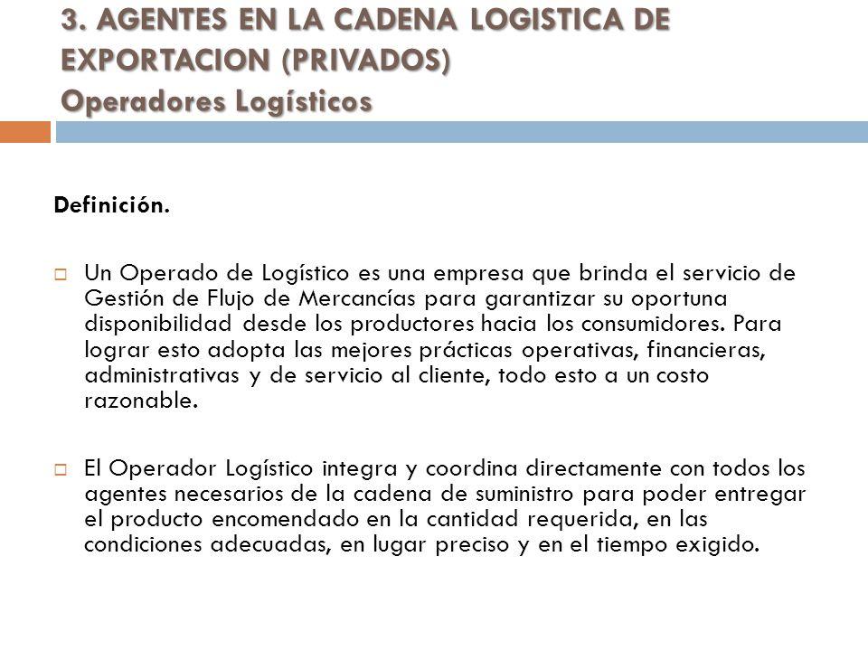 3.AGENTES EN LA CADENA LOGISTICA DE EXPORTACION (PRIVADOS) Operadores Logísticos Definición.