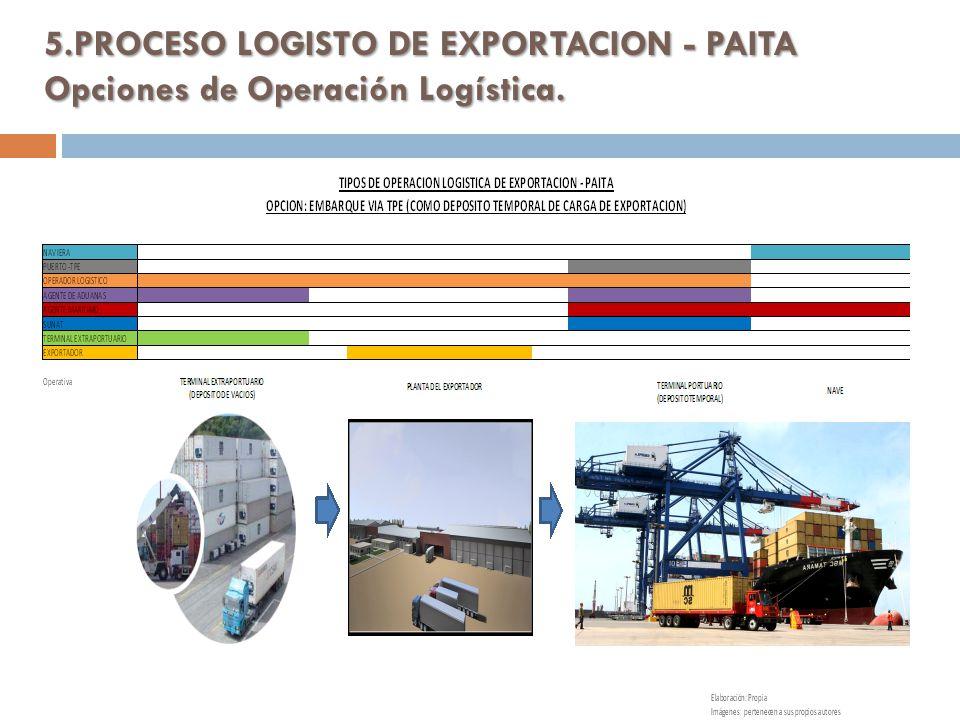5.PROCESO LOGISTO DE EXPORTACION - PAITA Opciones de Operación Logística. Elaboración: propia