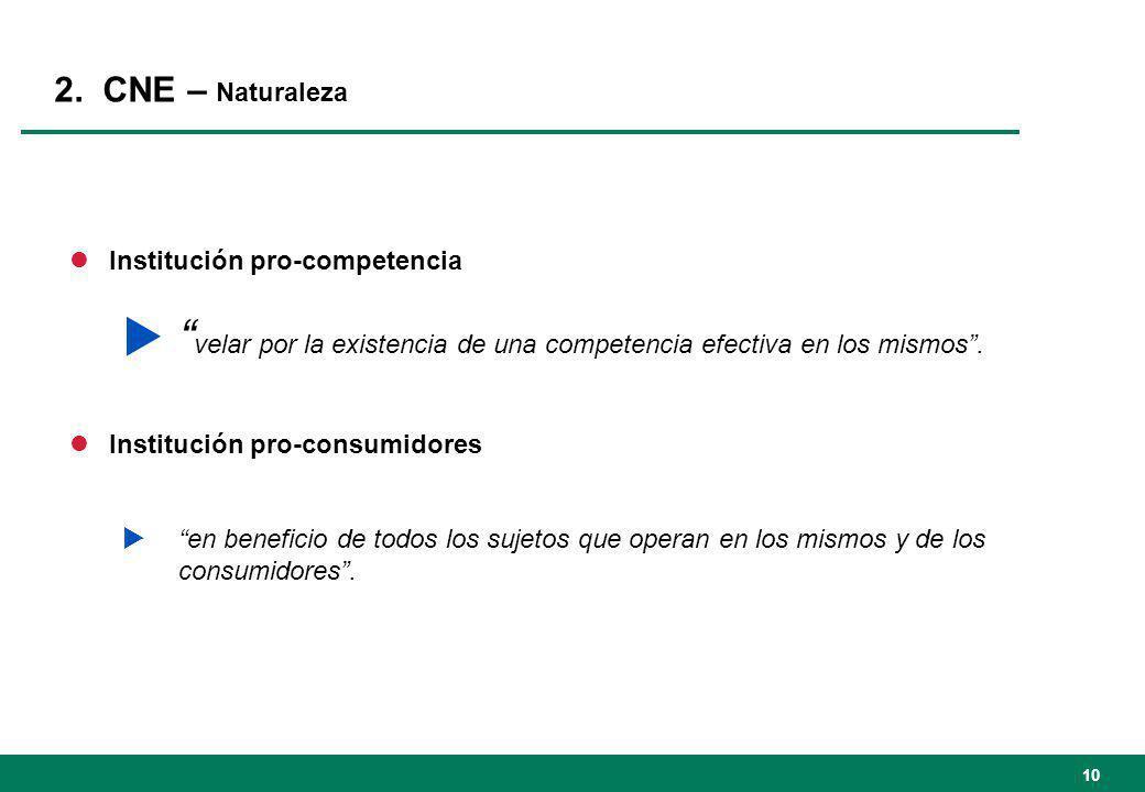 2. CNE – Naturaleza lInstitución pro-competencia velar por la existencia de una competencia efectiva en los mismos. lInstitución pro-consumidores en b