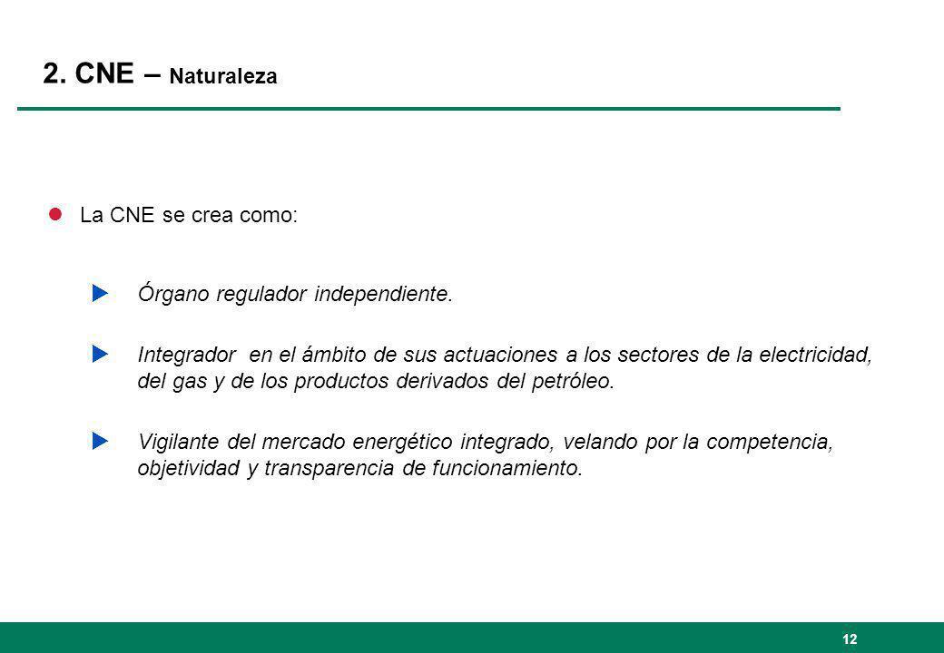 2. CNE – Naturaleza lLa CNE se crea como: Órgano regulador independiente. Integrador en el ámbito de sus actuaciones a los sectores de la electricidad
