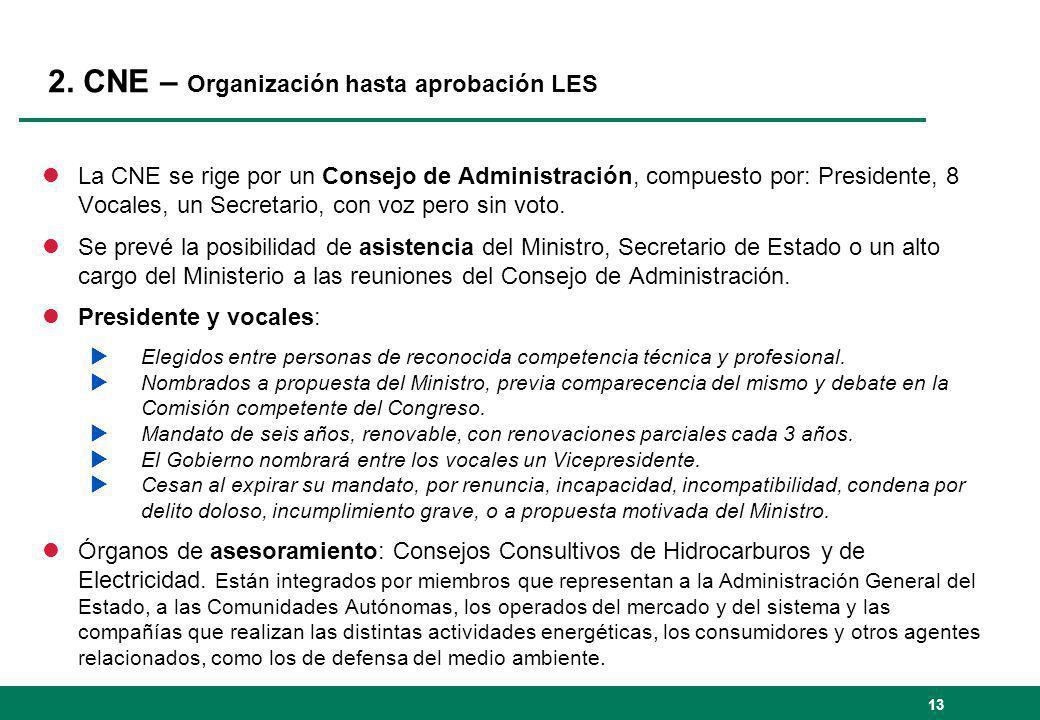2. CNE – Organización hasta aprobación LES lLa CNE se rige por un Consejo de Administración, compuesto por: Presidente, 8 Vocales, un Secretario, con