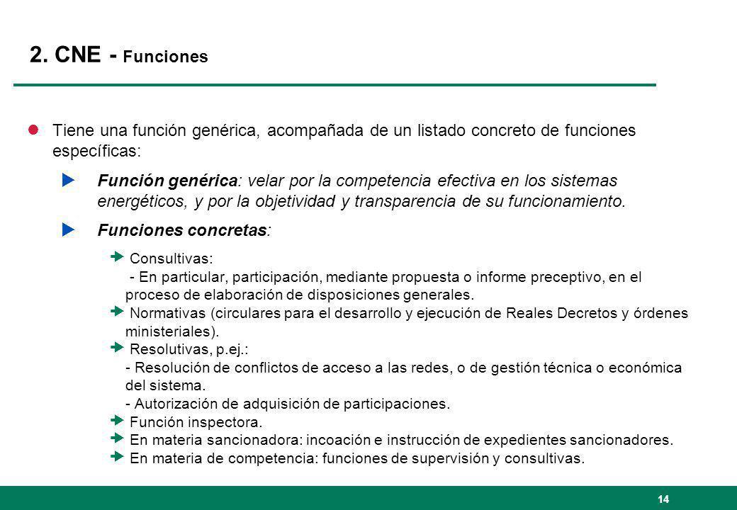 2. CNE - Funciones lTiene una función genérica, acompañada de un listado concreto de funciones específicas: Función genérica: velar por la competencia