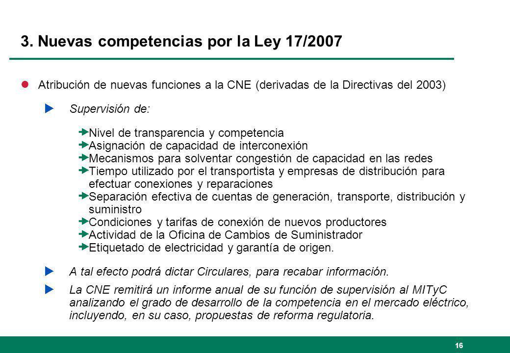 16 3. Nuevas competencias por la Ley 17/2007 lAtribución de nuevas funciones a la CNE (derivadas de la Directivas del 2003) Supervisión de: Nivel de t