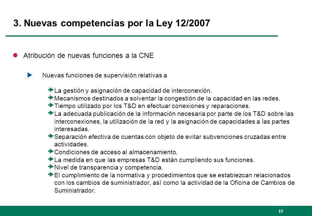 17 3. Nuevas competencias por la Ley 12/2007 lAtribución de nuevas funciones a la CNE Nuevas funciones de supervisión relativas a La gestión y asignac