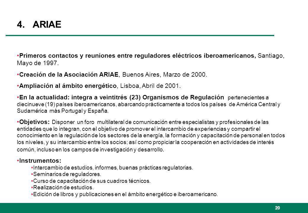 20 4. ARIAE Primeros contactos y reuniones entre reguladores eléctricos iberoamericanos, Santiago, Mayo de 1997. Creación de la Asociación ARIAE, Buen