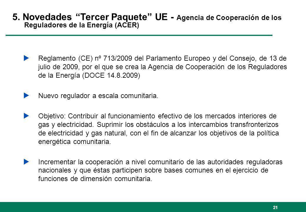 21 5. Novedades Tercer Paquete UE - Agencia de Cooperación de los Reguladores de la Energía (ACER) Reglamento (CE) nº 713/2009 del Parlamento Europeo